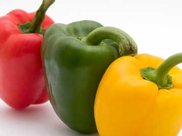 red green yellow pepper fruit